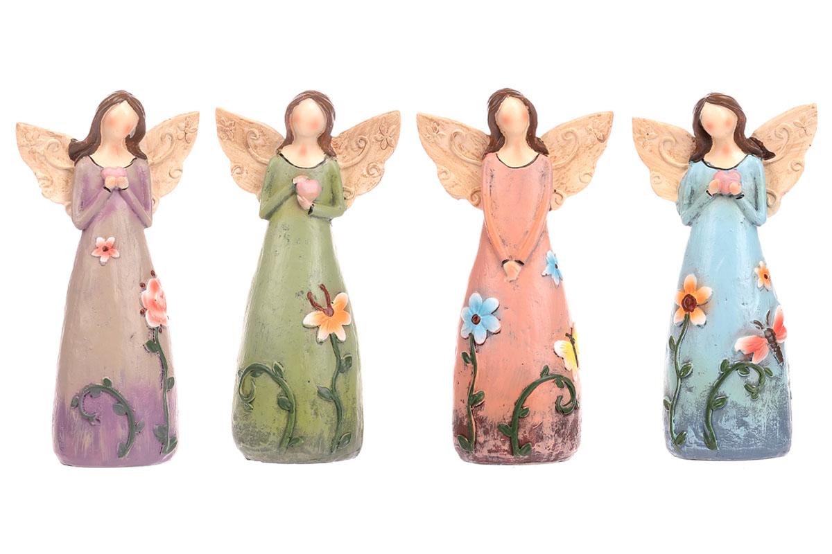 Anděl polyresinový, s květinami na šatech, mix 4 druhů, barvy tmavé.