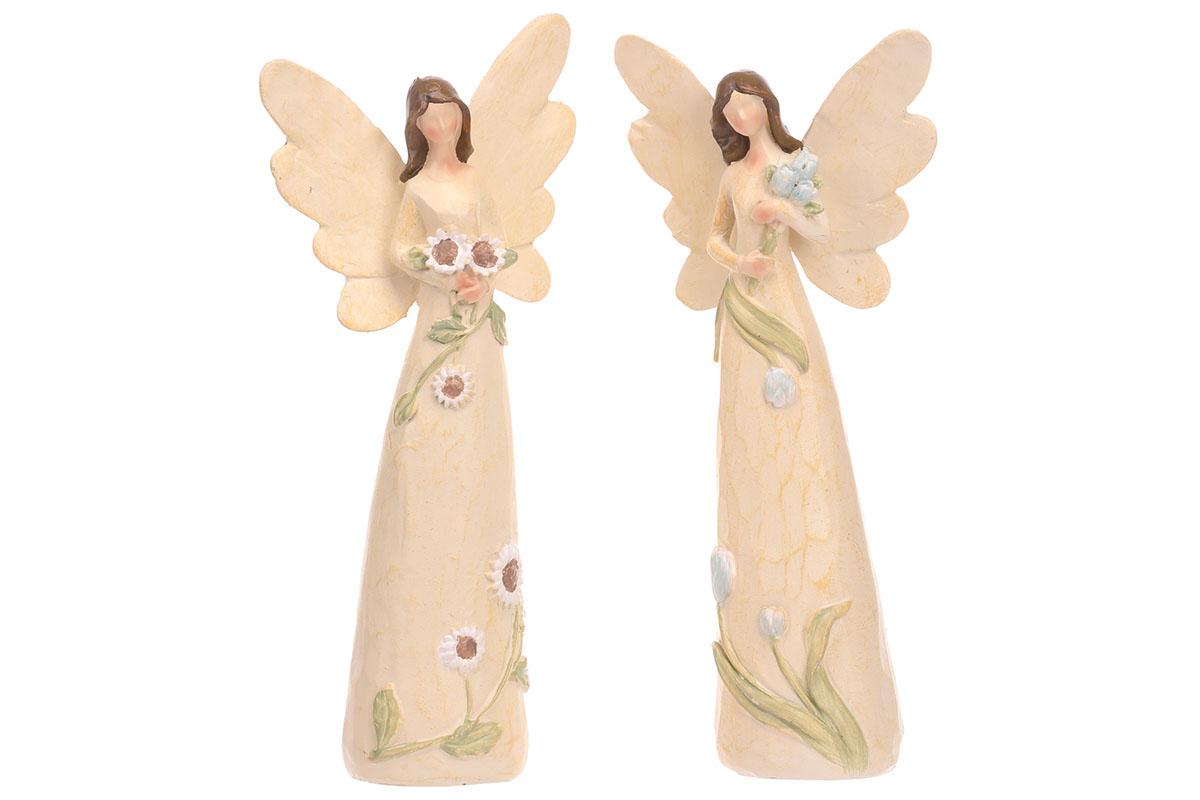 Anděl květinový, mix 2 druhů, barva krémová.