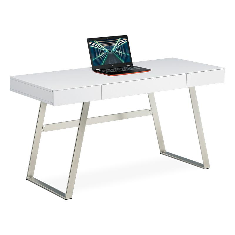 Autronic - Kancelářský stůl 140x60, bílá MDF mat, broušený nikl, 3 šuplíky - APC-601 WT