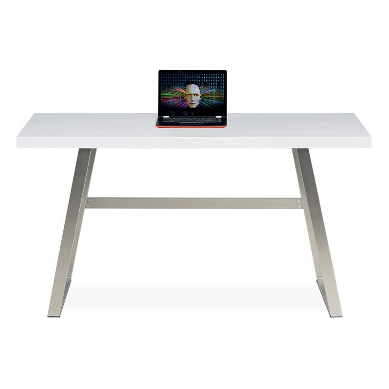 Autronic - Kancelářský stůl 140x60, bílá MDF mat, broušený nikl - APC-602 WT