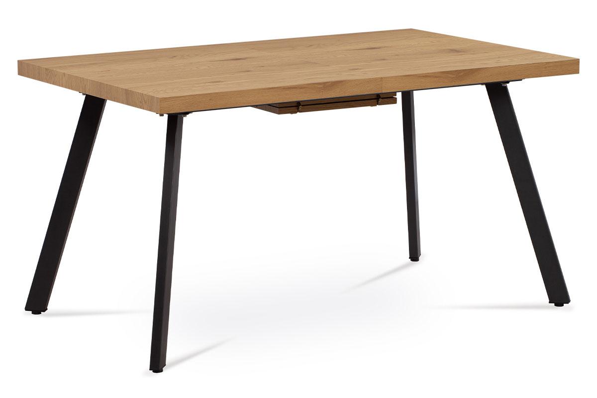 Jídelní stůl 140+40x85x76 cm, MDF deska, 3D dekor dub, kovové nohy, antracitový - AT-1120 OAK