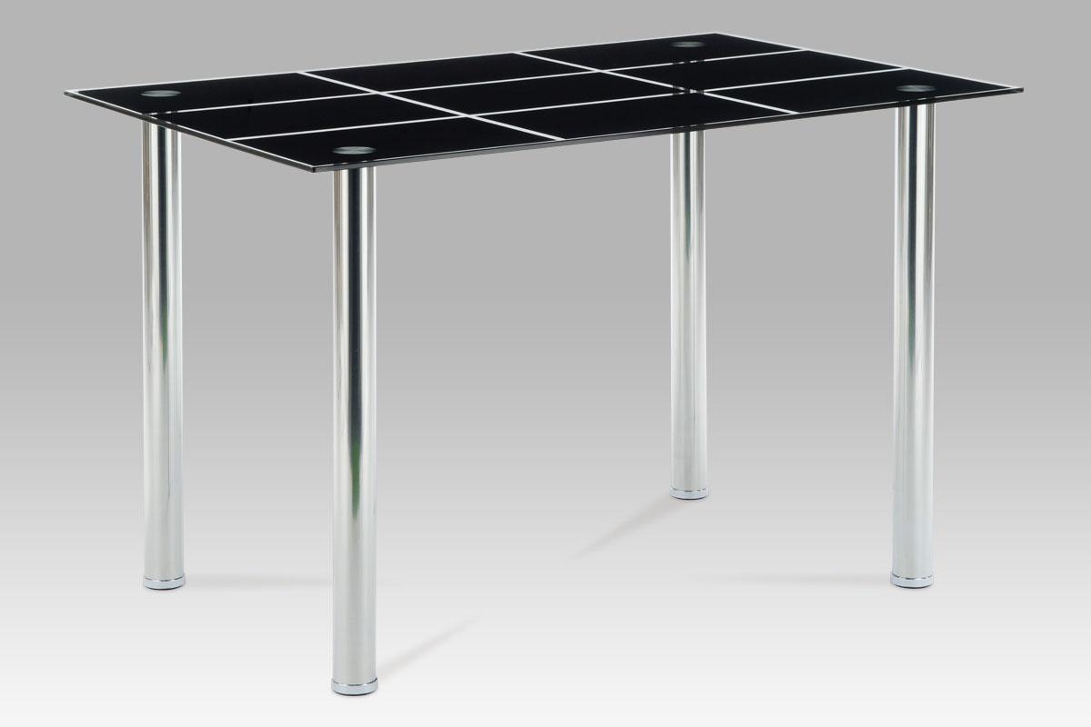 Autronic - Jídelní stůl 120x80 cm, černé sklo / chrom - AT-1888 BK