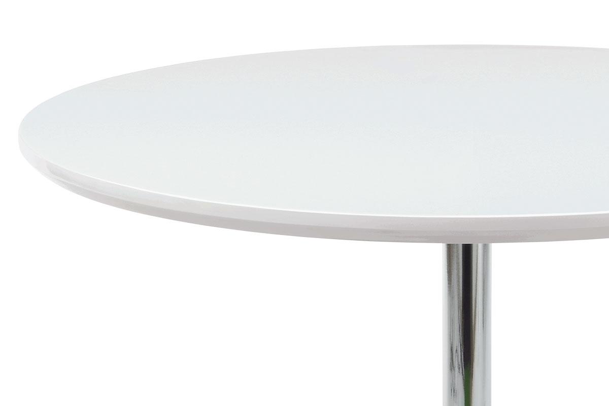 Jídelní stůl pr. 90 cm, vys. lesk bílý / chrom - AT-1901 WT