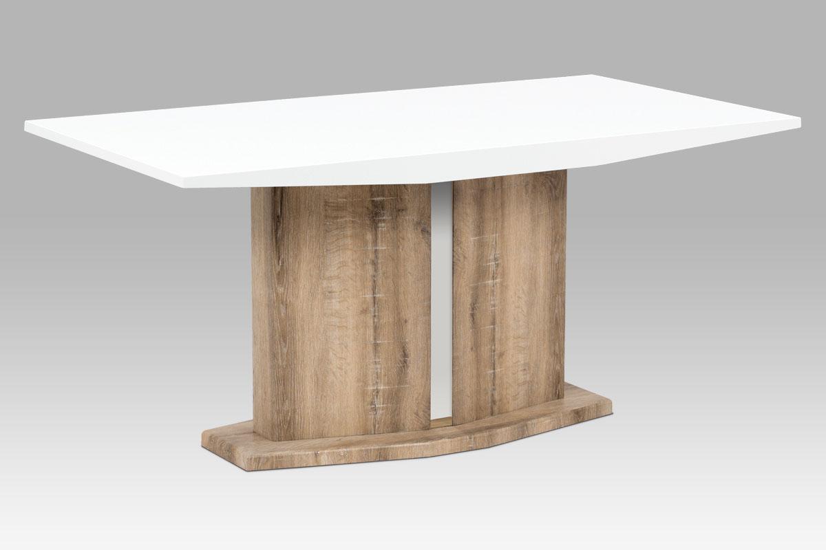 Autronic - Jídelní stůl 160x90 cm, vysoký lesk bílý / Canyon Grey - AT-2013 CAN
