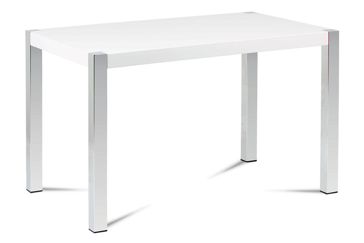 Autronic - Jídelní stůl 120x75 cm, MDF deska, bílý vysoký lesk, chromované nohy - AT-2066 WT