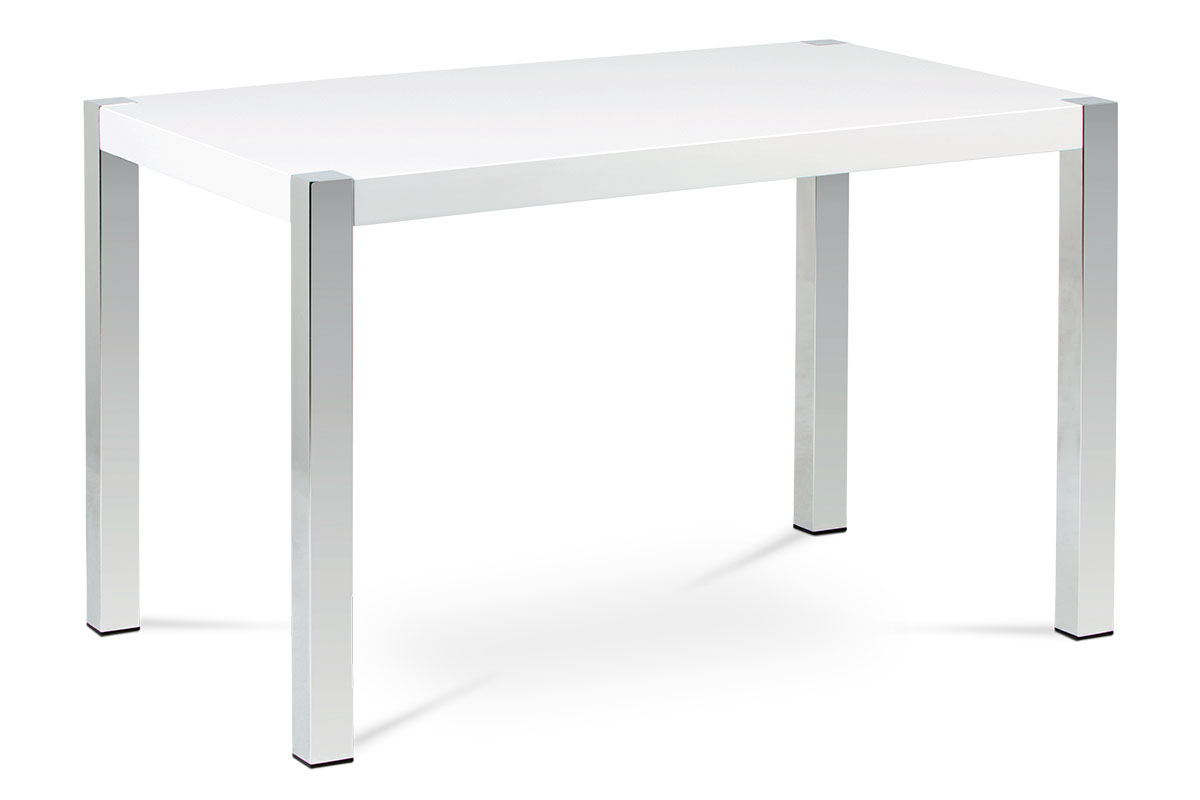 Autronic - Jídelní stůl 120x75 cm, vysoký lesk bílý / chrom - AT-2086 WT