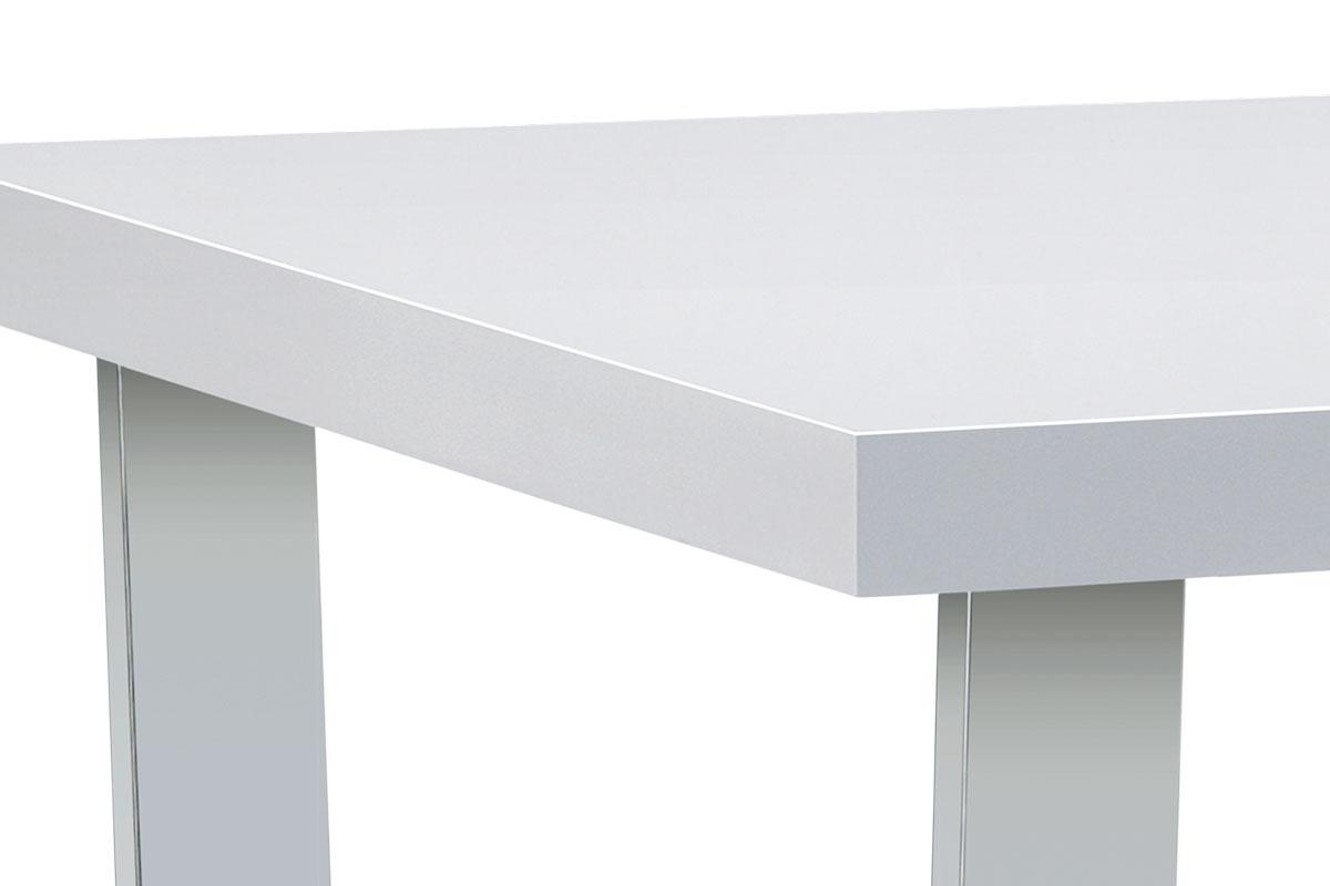 Jídelní stůl 150x90 cm, MDF deska, bílý vysoký lesk, chromovaná podnož - AT-2088 WT
