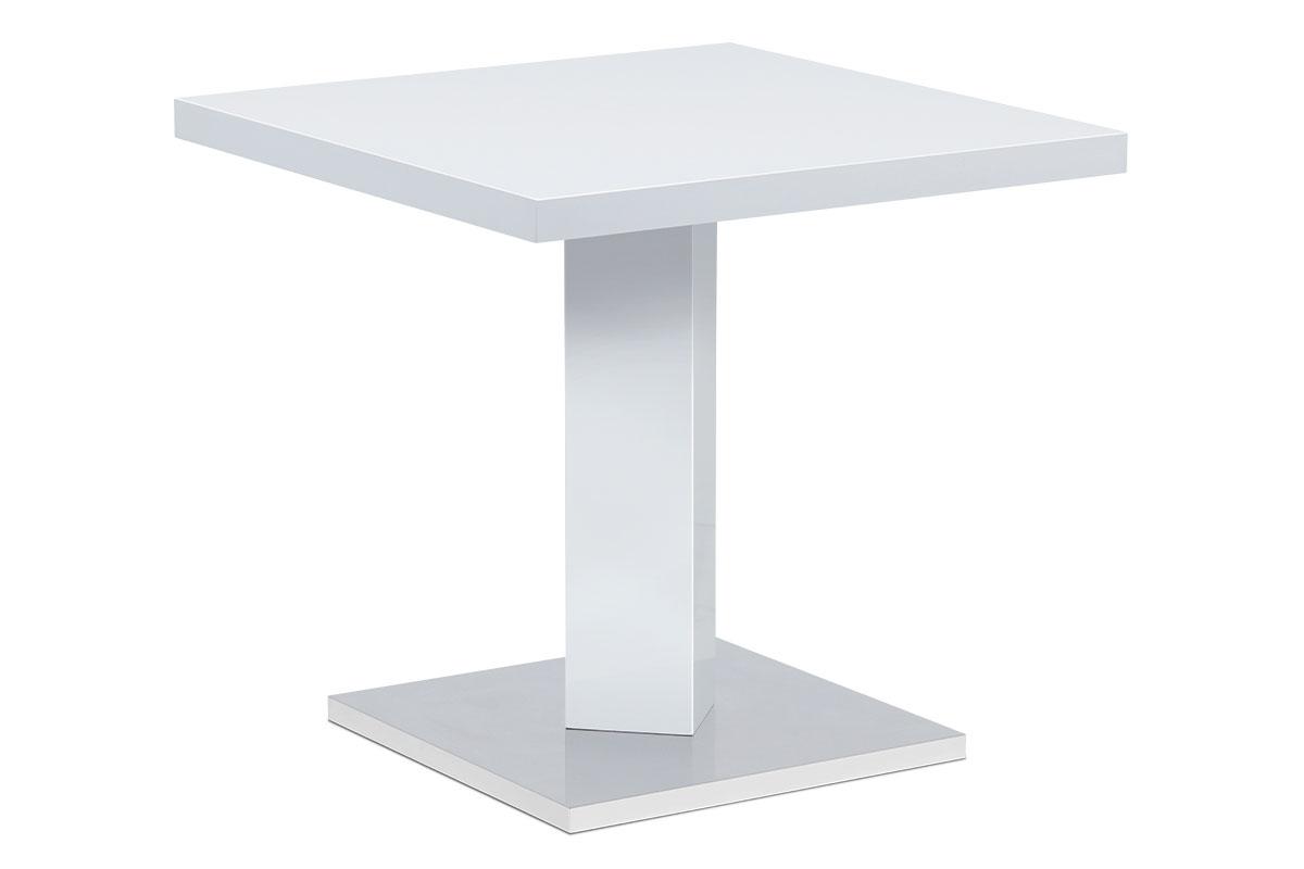 Autronic - Jídelní stůl 80x80, bílá MDF vysoký lesk, podstavec chrom - AT-4001 WT