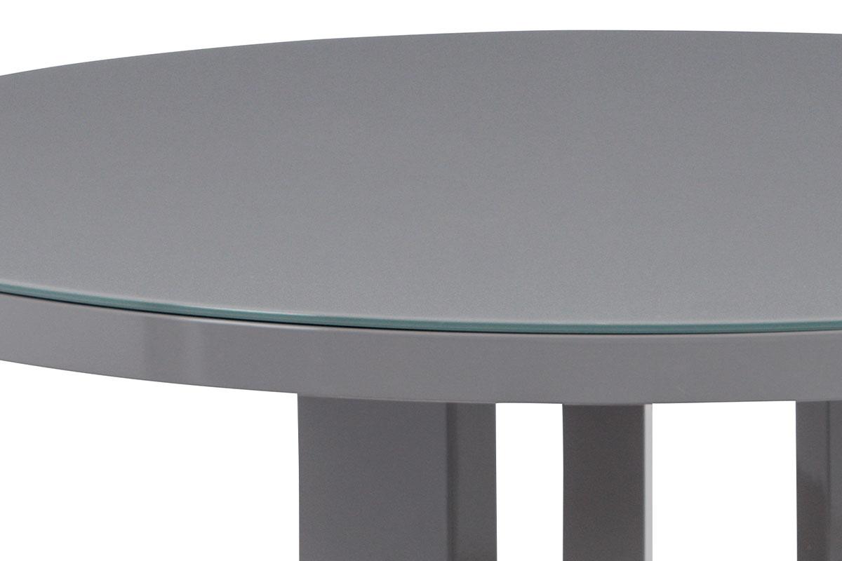 Jídelní stůl pr. 108 cm, sklo šedé + MDF šedá - AT-4003 GREY