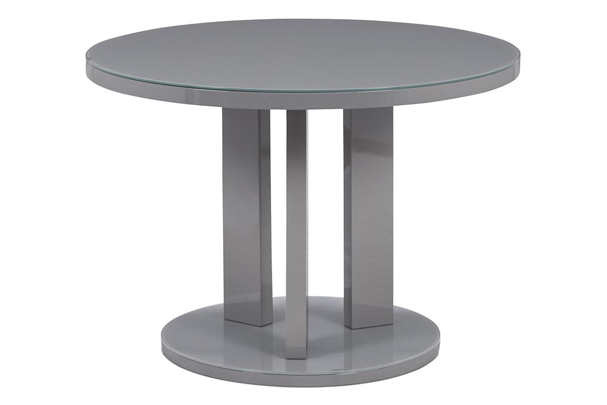 Autronic - Jídelní stůl pr. 108 cm, sklo šedé + MDF šedá - AT-4003 GREY
