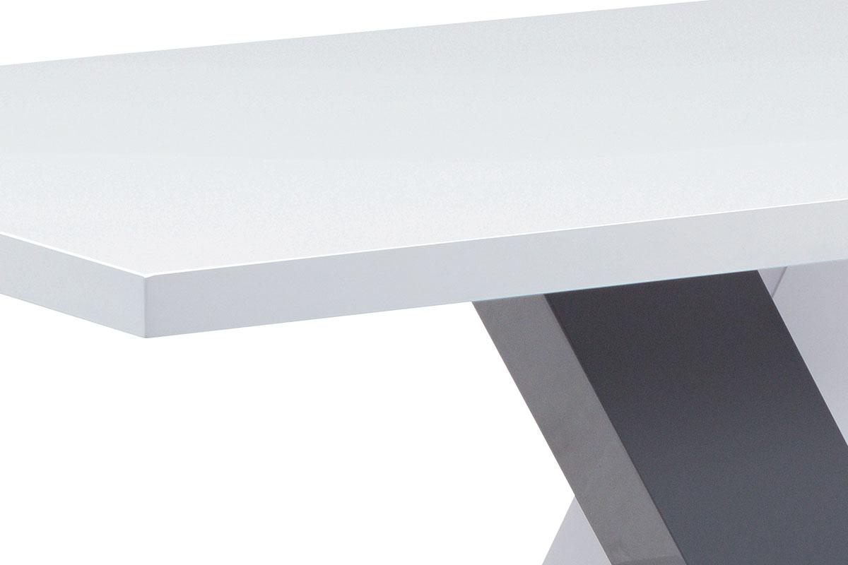 Jídelní stůl 140x80, bílá MDF vysoký lesk - AT-4005 WT