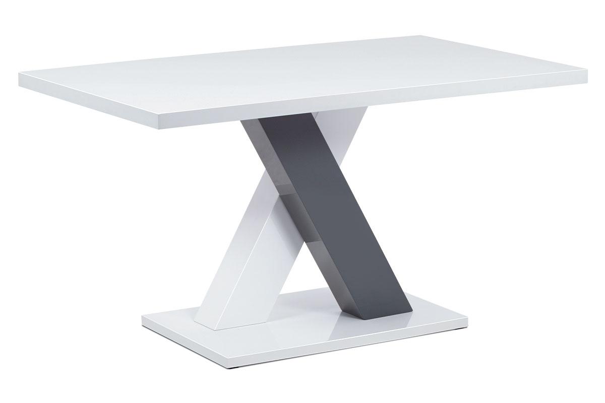 Autronic - Jídelní stůl 140x80, bílá MDF vysoký lesk - AT-4005 WT