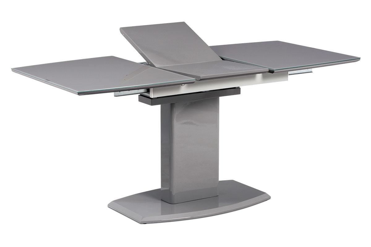 Autronic - Jídelní stůl 120+40x80 cm, šedé sklo + šedá MDF - AT-4011 GREY