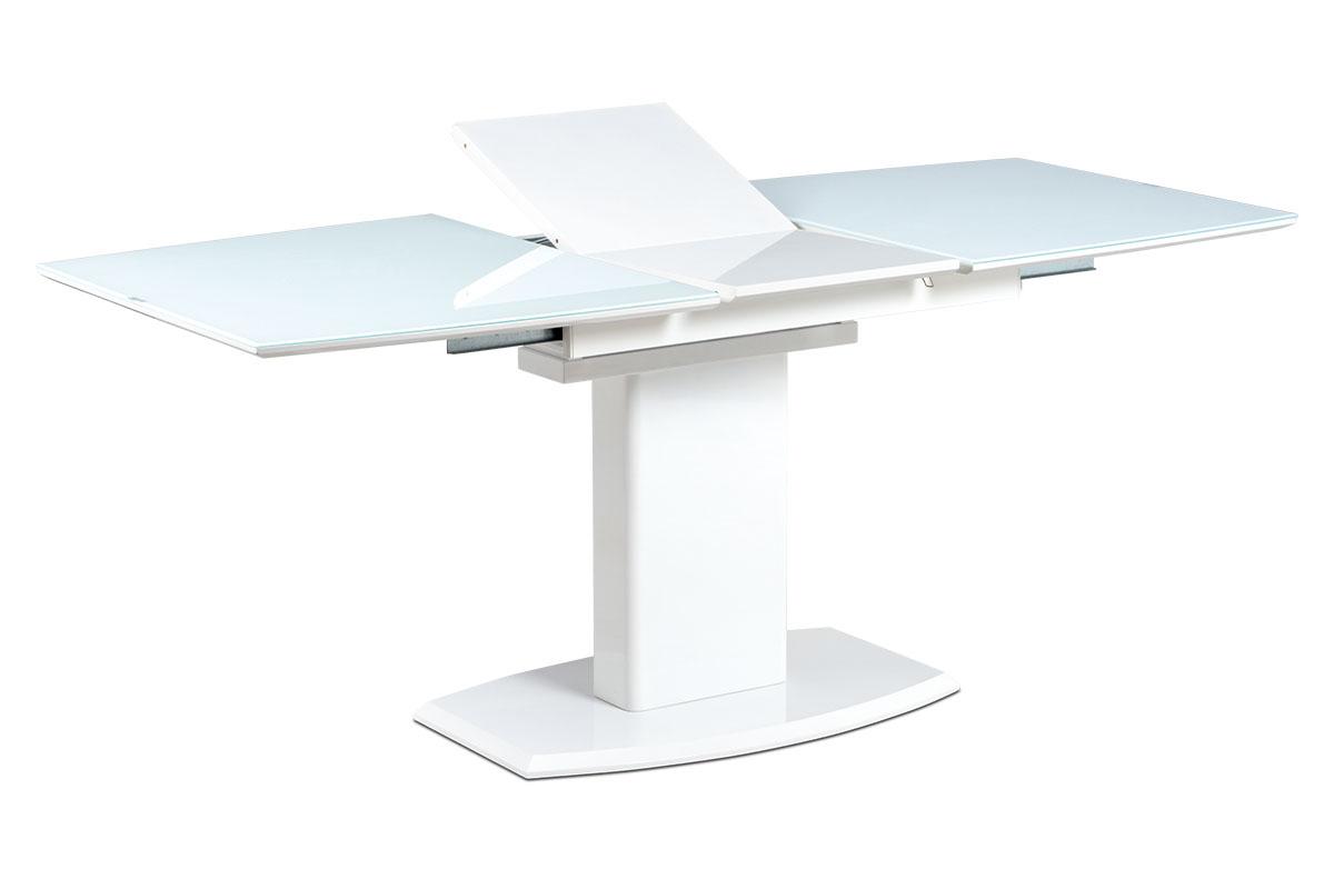 Autronic - Jídelní stůl 140+40x80 cm, bílé sklo + bílá MDF - AT-4012 WT