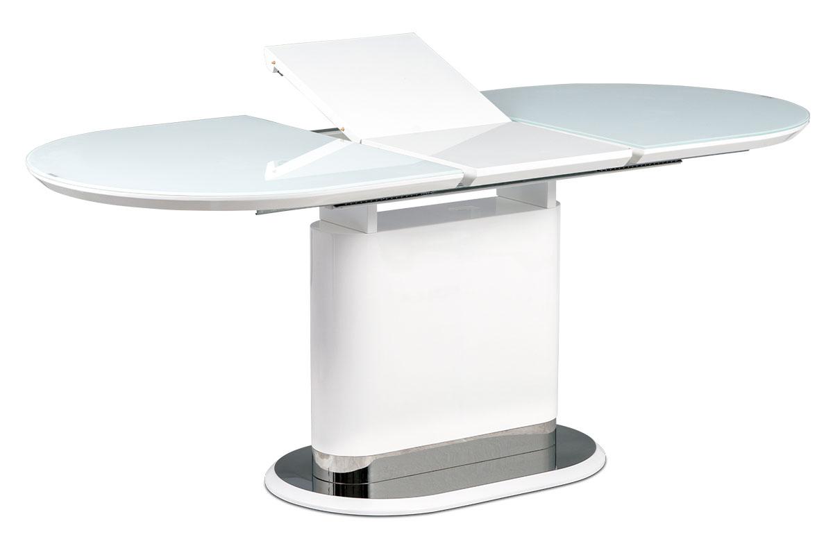 Autronic - Jídelní stůl 140+40x80 cm, bílé sklo, MDF + bílý vysoký lesk, lesklý nerez - AT-4020 WT