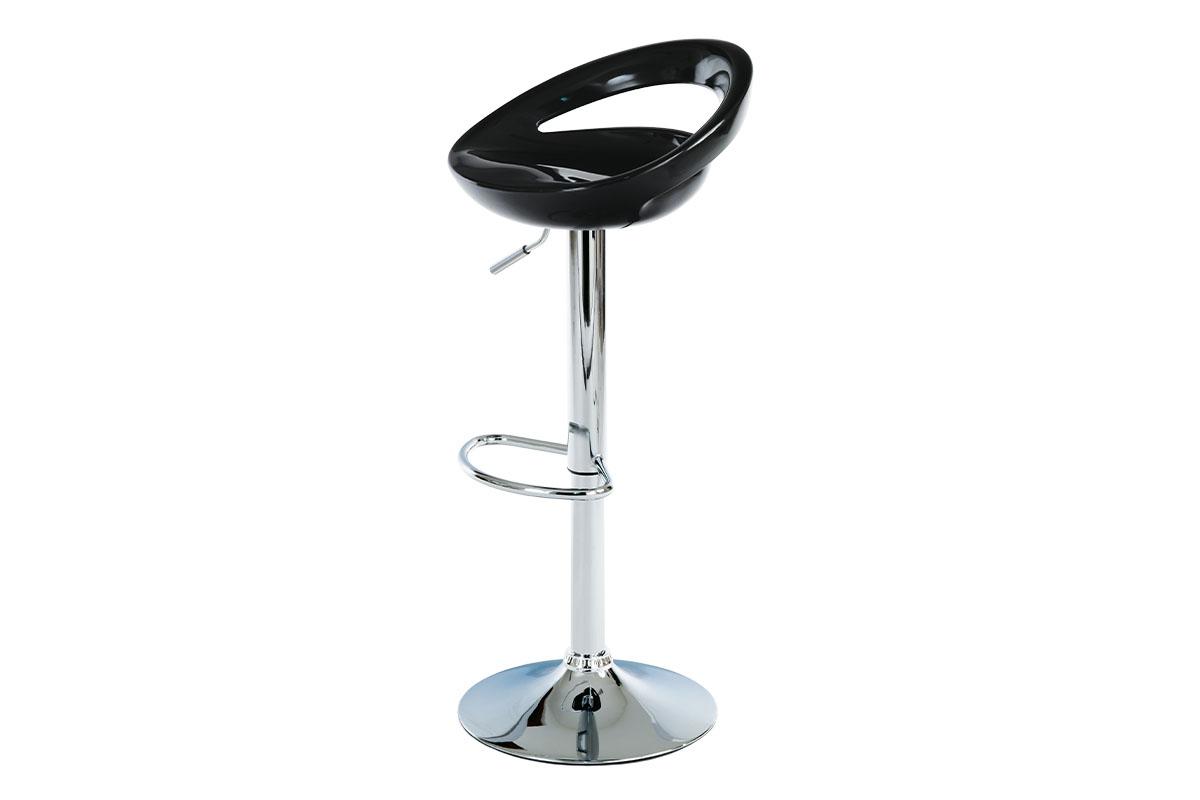 Autronic - Barová židle, černý plast, chromová podnož, výškově nastavitelná - AUB-404 BK