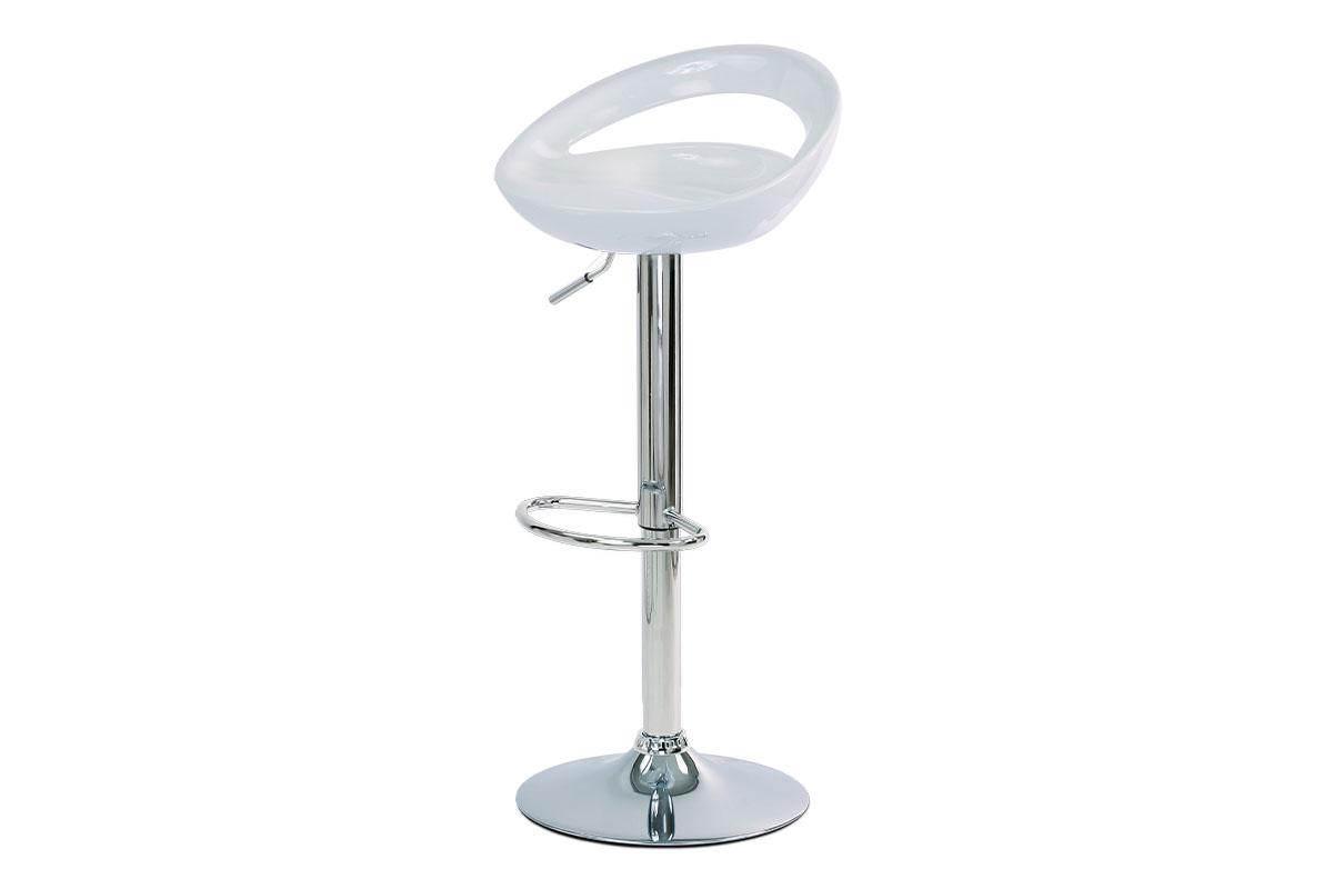 Autronic - Barová židle, bílý plast, chromová podnož, výškově nastavitelná - AUB-404 WT