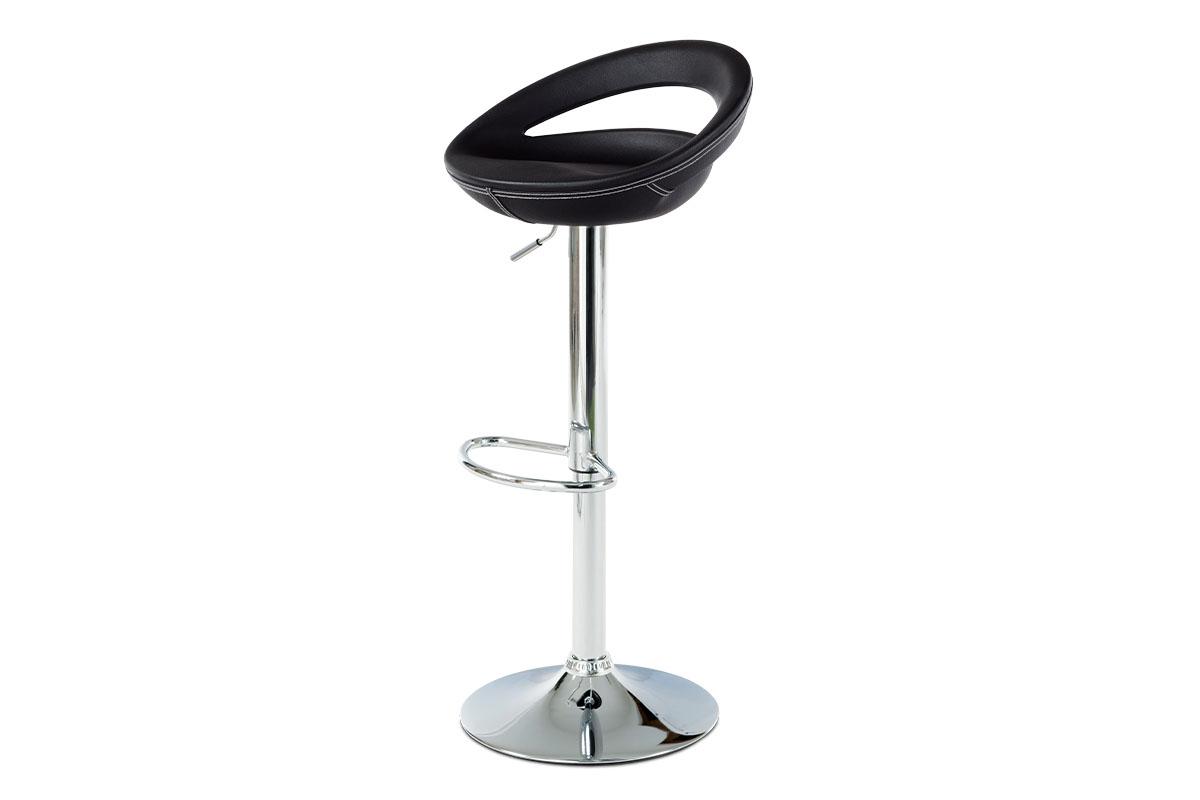 Autronic - Barová židle, plast potažený černou ekokůží, bílé prošití, chrom - AUB-407 BK