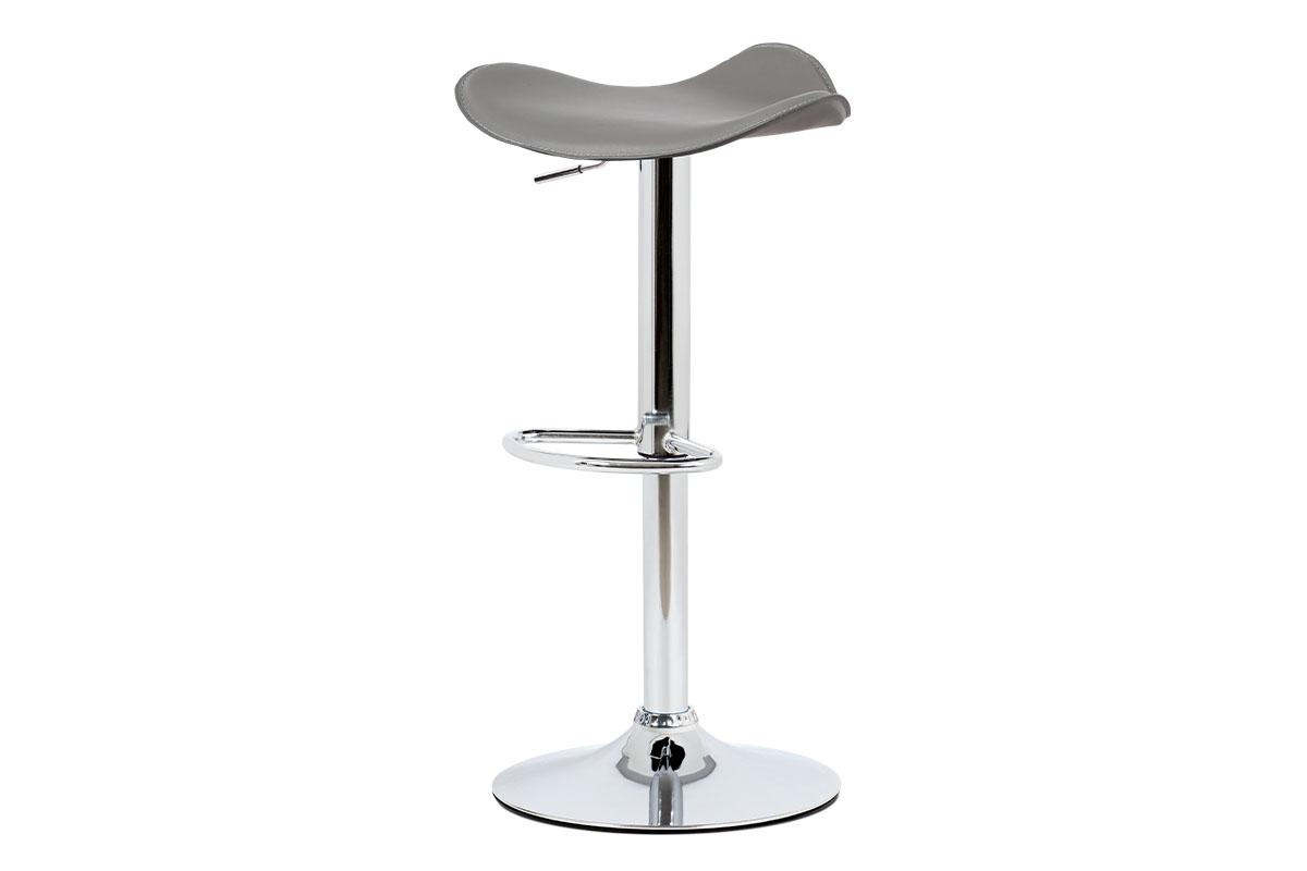 Autronic - Barová židle, šedá ekokůže, chromová podnož, výškově nastavitelná - AUB-440 GREY