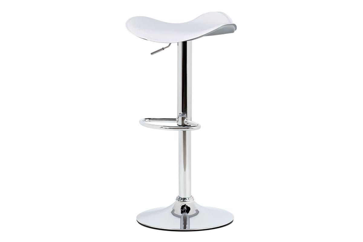 Autronic - Barová židle, bílá ekokůže, chromová podnož, výškově nastavitelná - AUB-440 WT