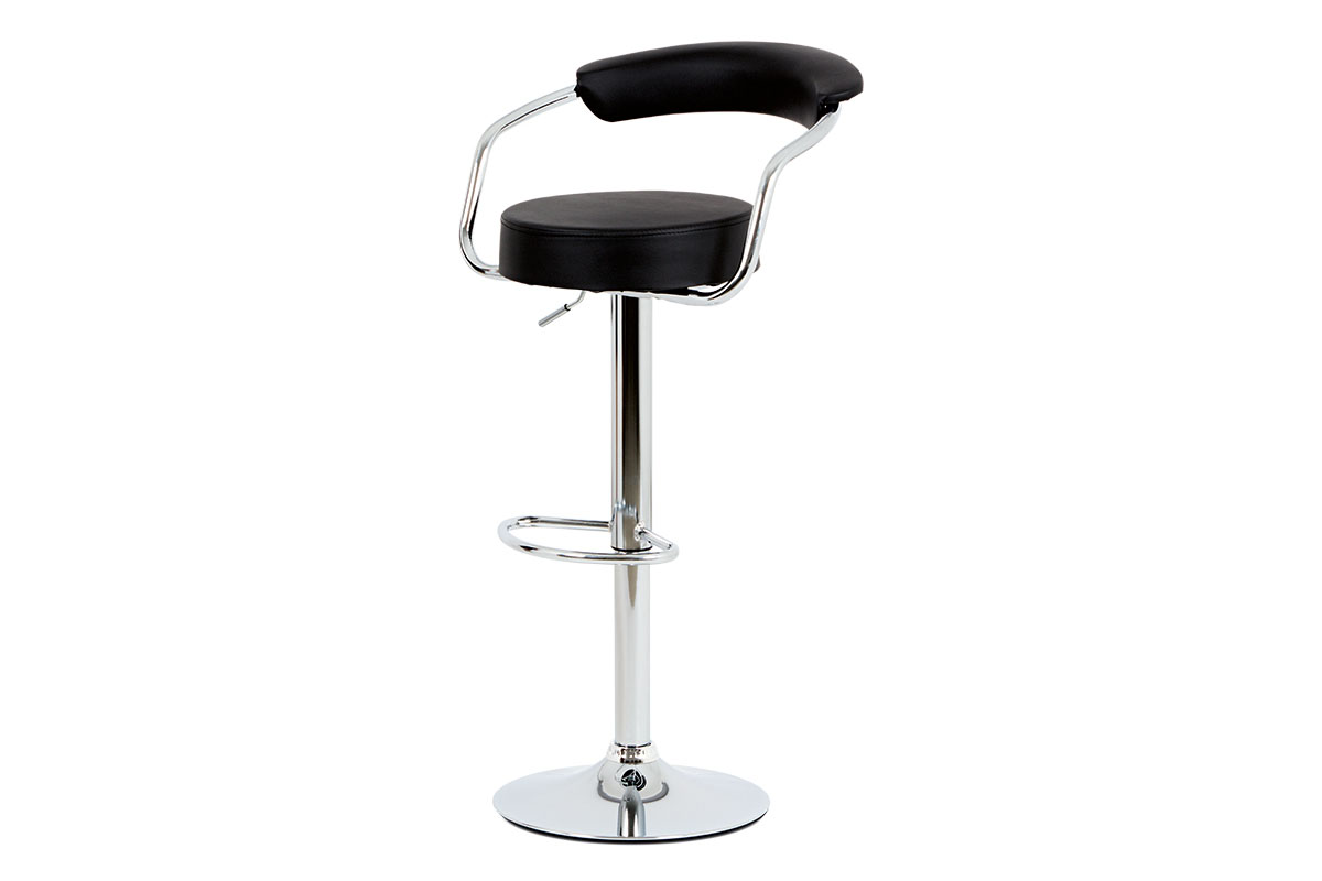 Autronic - Barová židle, černá ekokůže, chromová podnož, výškově nastavitelná - AUB-442 BK