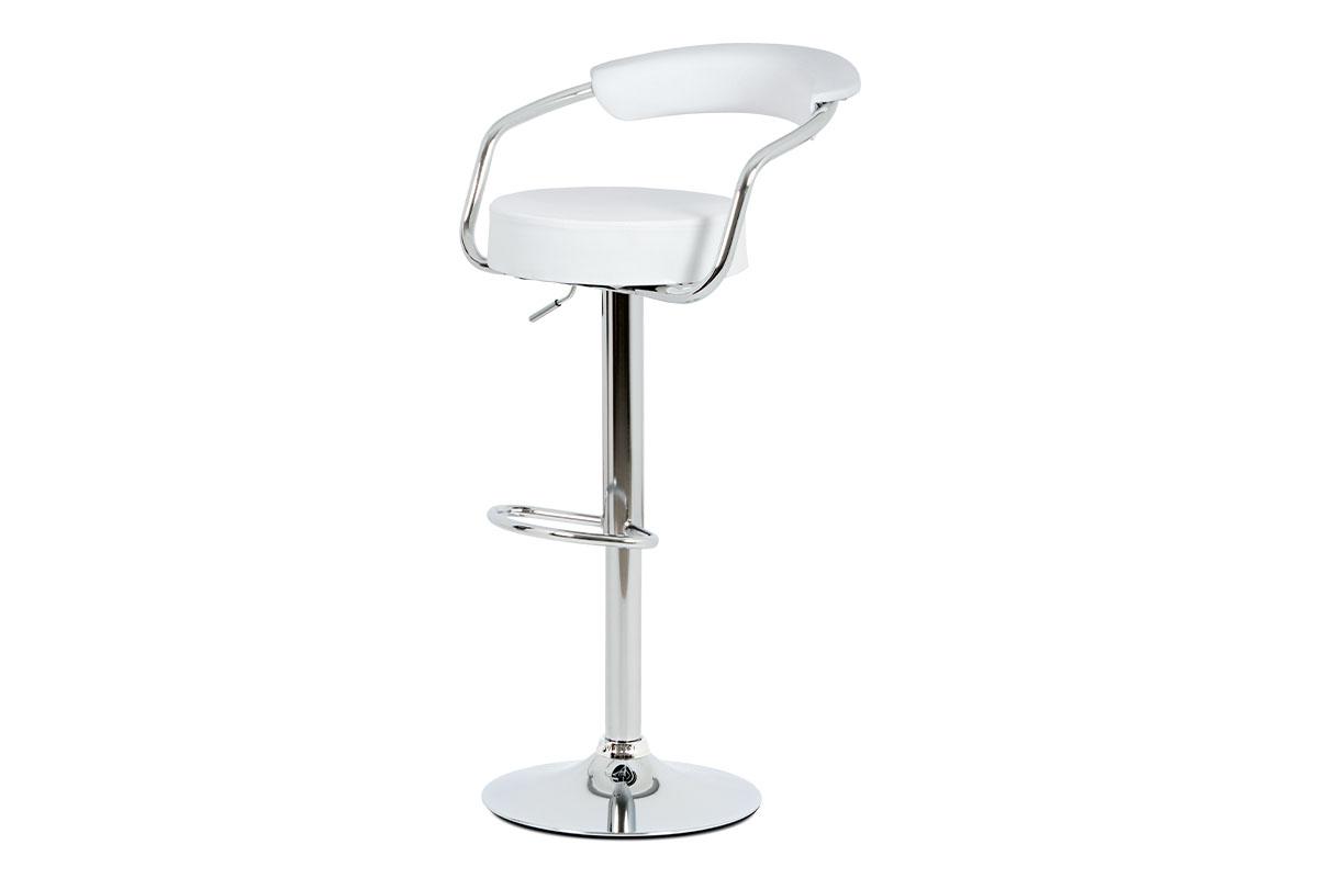 Autronic - Barová židle, bílá ekokůže, chromová podnož, výškově nastavitelná - AUB-442 WT