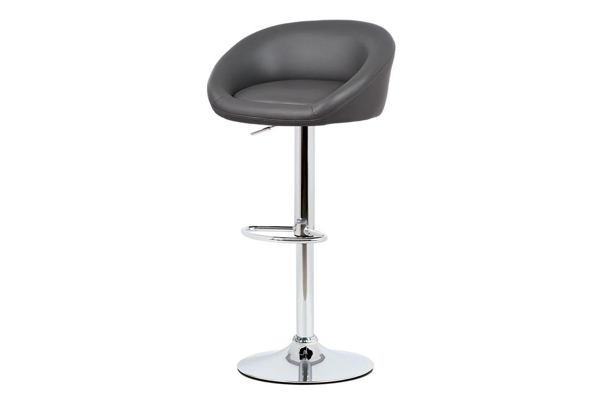 Barová židle, šedá ekokůže, chromová podnož, výškově nastavitelná