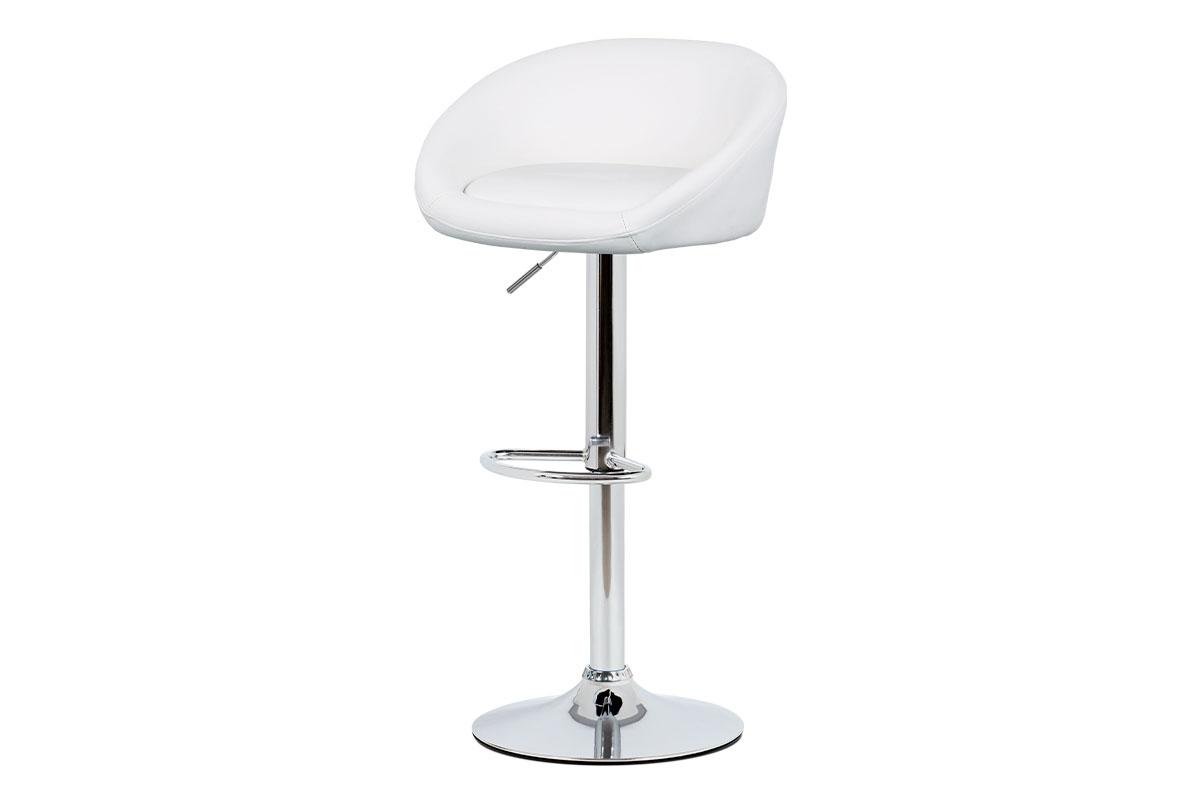Barová židle, bílá ekokůže, chromová podnož, výškově nastavitelná