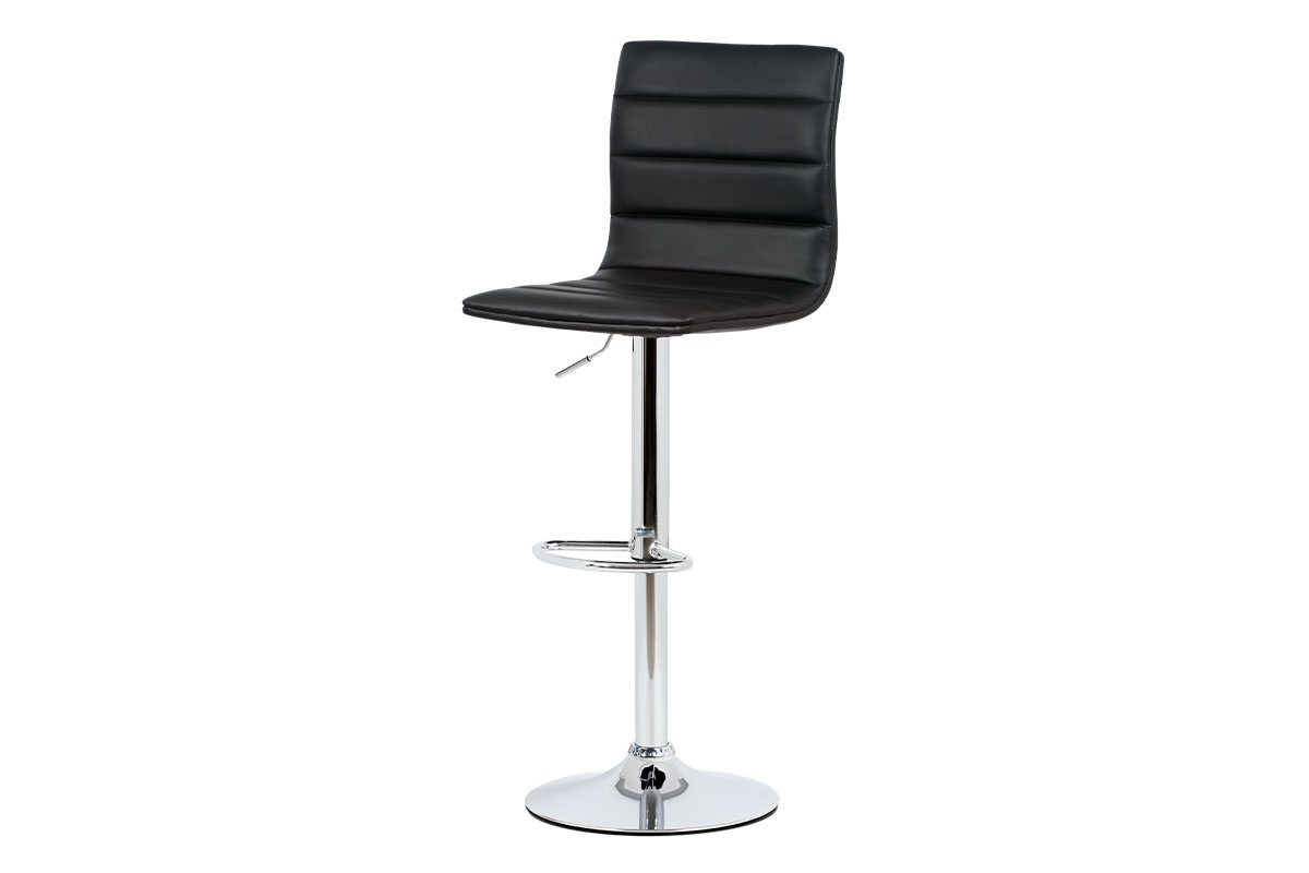 Barová židle, černá ekokůže, chromová podnož, výškově nastavitelná