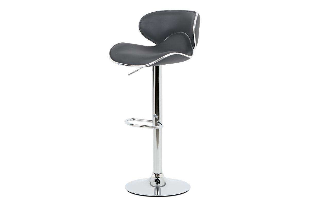 Autronic - Barová židle, šedá ekokůže, chromová podnož, výškově nastavitelná - AUB-455 GREY