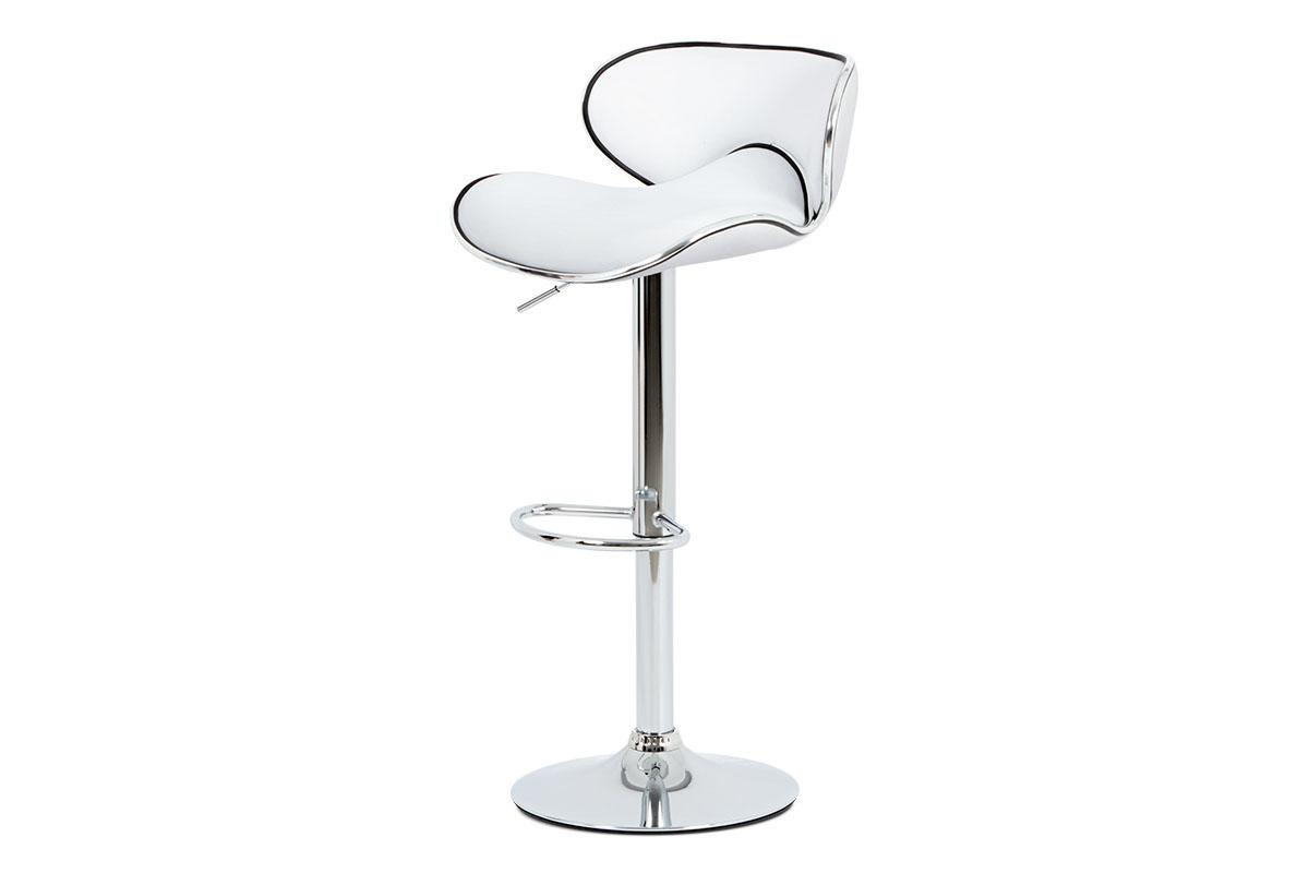 Autronic - Barová židle, bílá ekokůže, chromová podnož, výškově nastavitelná - AUB-455 WT