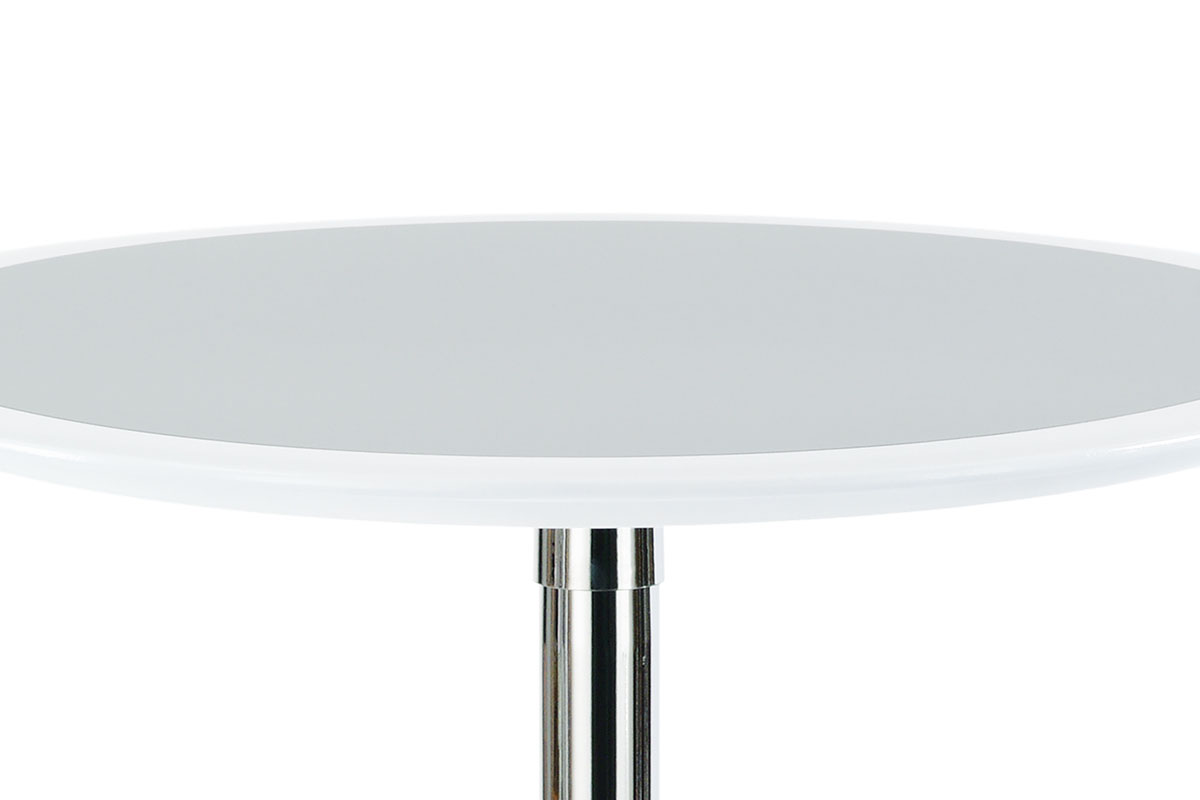 Barový stůl bílo-stříbrný plast, pr. 60 cm - AUB-6050 WT