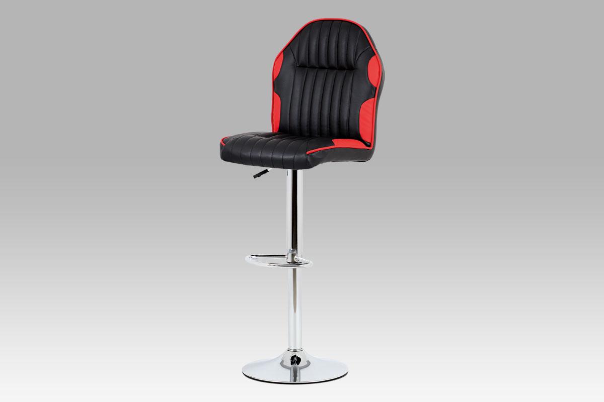 Autronic - Barová židle koženka černá + červená / chrom - AUB-610 RED