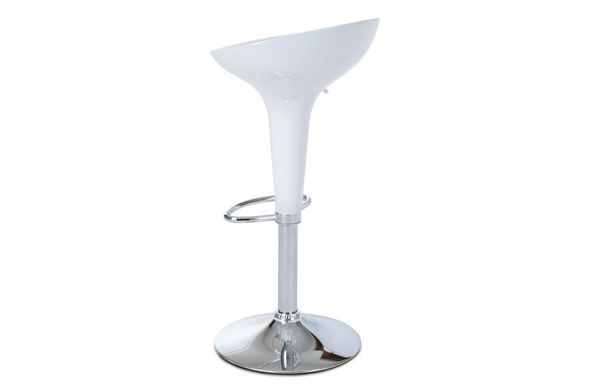 Barová židle, bílý plast, chromová podnož, výškově nastavitelná - AUB-9002 WT
