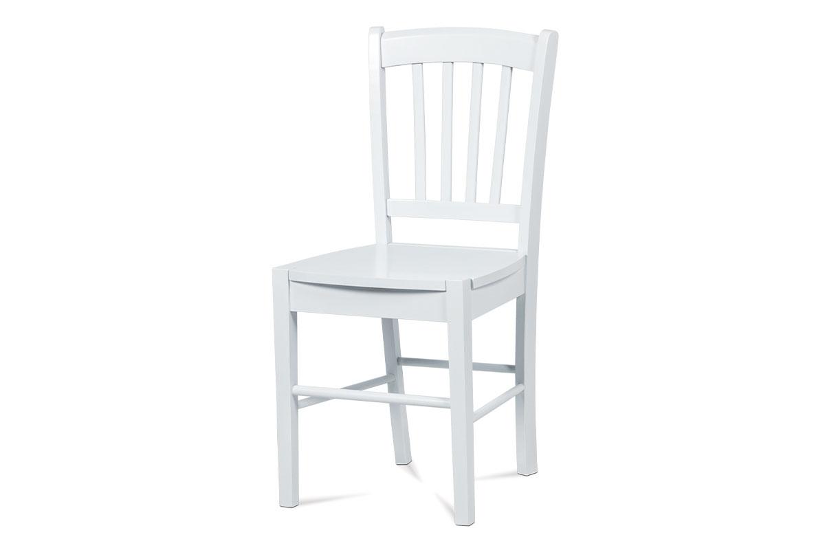 Autronic - Jídelní židle celodřevěná, bílá - AUC-005 WT