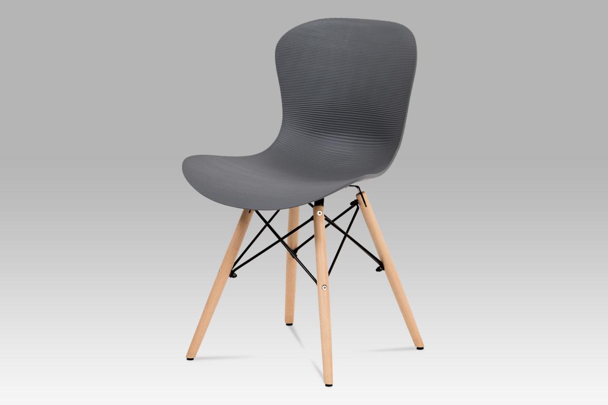 Autronic - Jídelní židle, šedý vroubkovaný plast / natural - AUGUSTA GREY