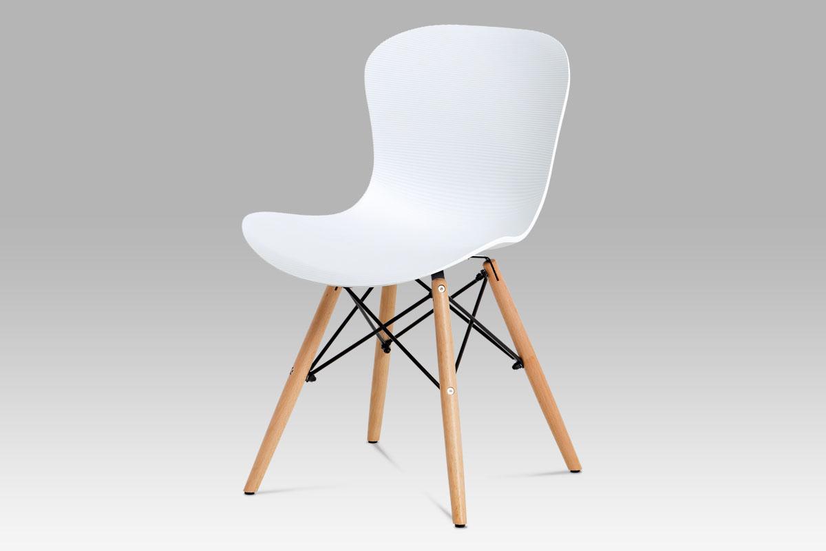 Autronic - Jídelní židle, bílý vroubkovaný plast / natural - AUGUSTA WT