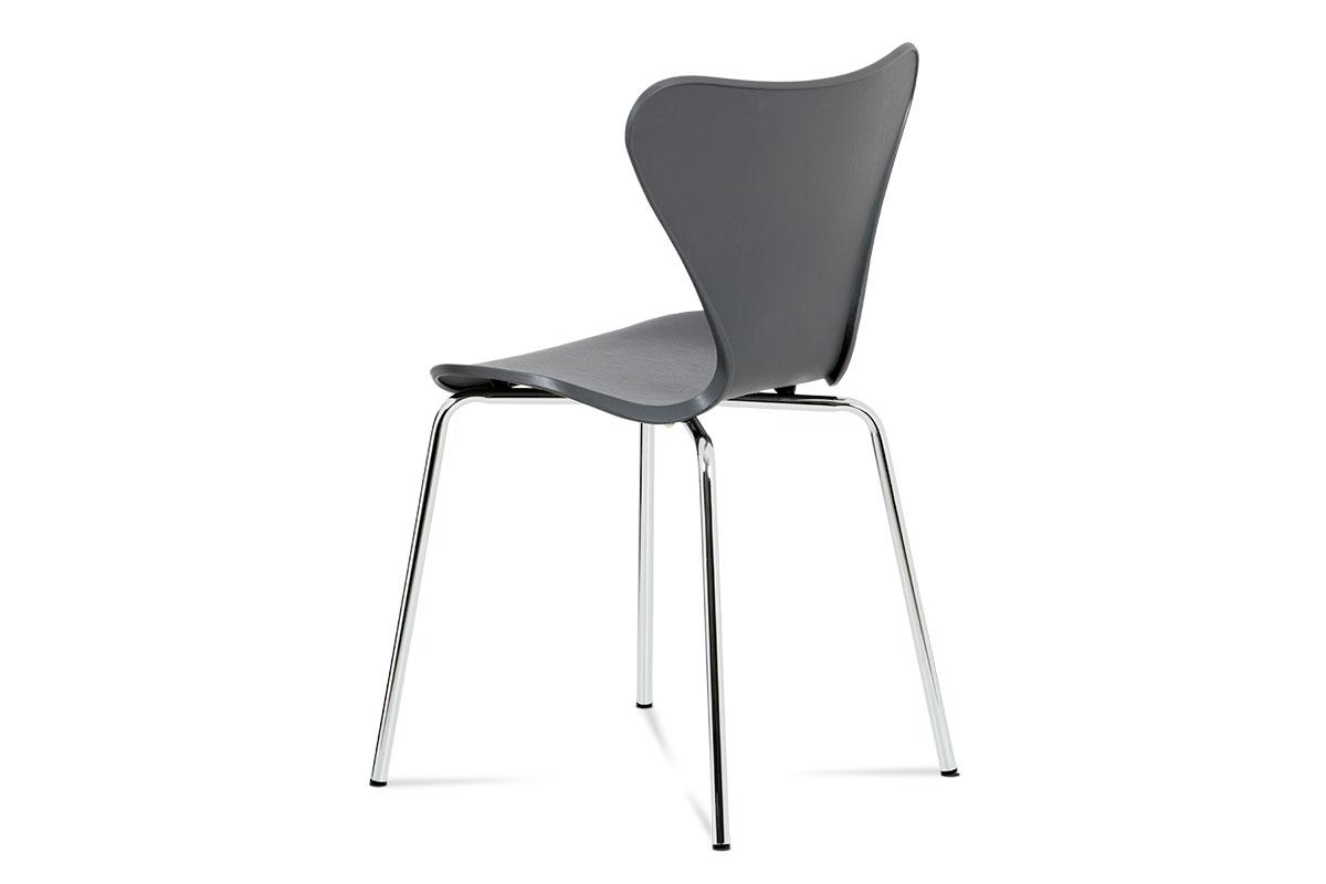 Jídelní židle, šedý plastový výlisek s dekorem dřeva, kovová chromovaná čtyřnohá - AURORA GREY