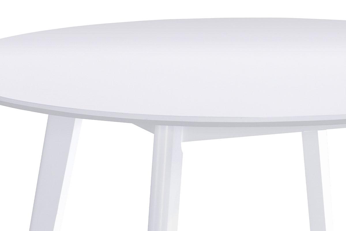 Kulatý jídelní stůl pr. 106 cm, bílá matná MDF deska, tloušťka 18mm - AUT-007 WT