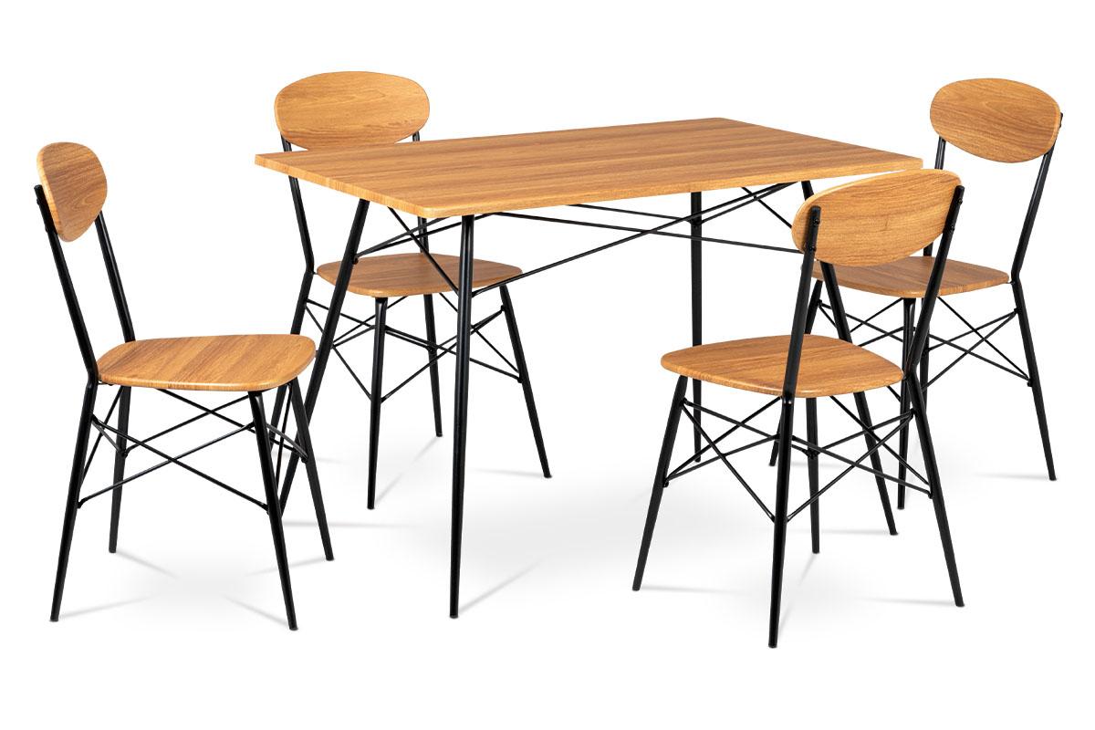 Jídelní set (1+4), MDF dekor medový dub, čtyřnohá kovová podnož, černý matný lak