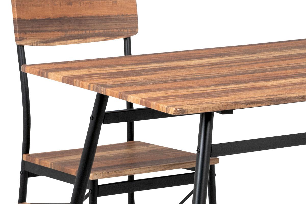 Jídelní set (1+4), MDF 3D dekor vintage třešeň, kovová podnož, černý matný lak - AUT-2022 RTR