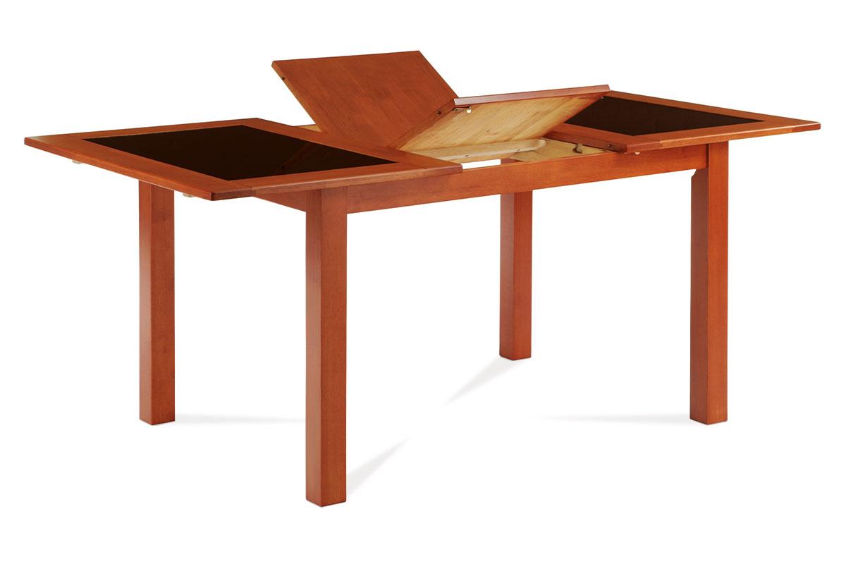 Autronic - Jídelní stůl rozkl. 130+46x90 cm, černé sklo, barva třešeň - AUT-557 TR2