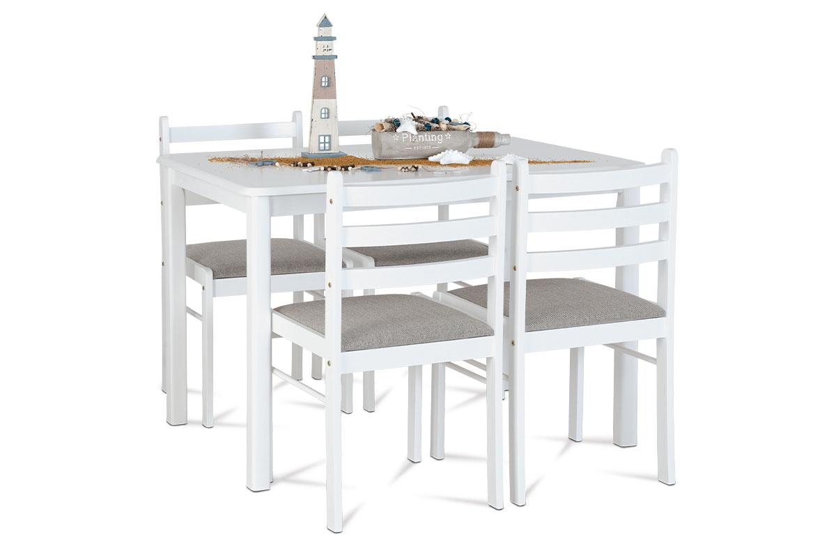 Set 1+4, 114x70 cm, barva bílá, masiv - AUT-6060 WT