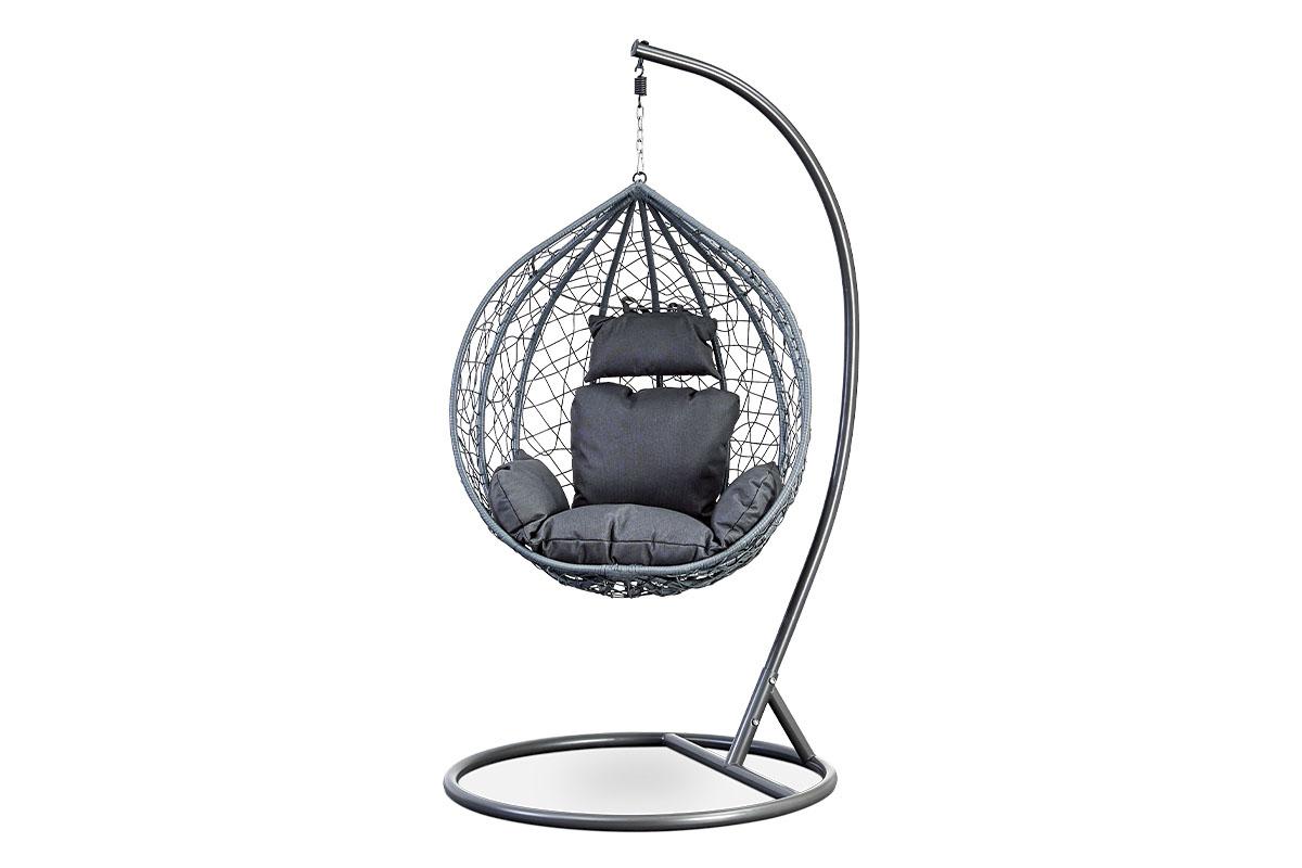 Autronic - Zahradní závěsné křeslo malé, výplet šedý umělý ratan, potah šedá látka, kovová konstrukce, šedý kladívkový lak - AZ-004 GREY