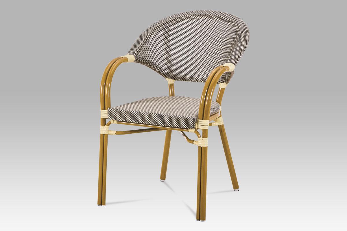 Autronic - Zahradní židle, kov zlatá, plast hnědočerná - AZC-100 CAP