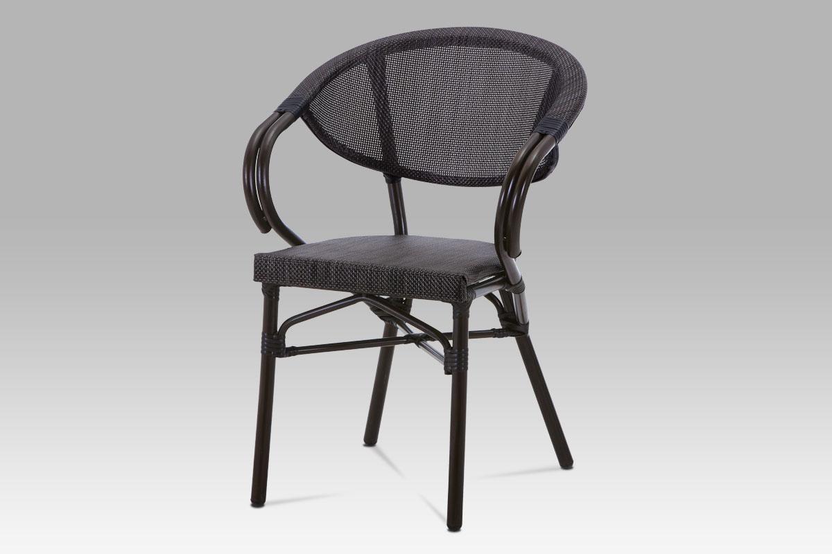 Autronic - Zahradní židle, kov hnědý, textil černý - AZC-110 BK