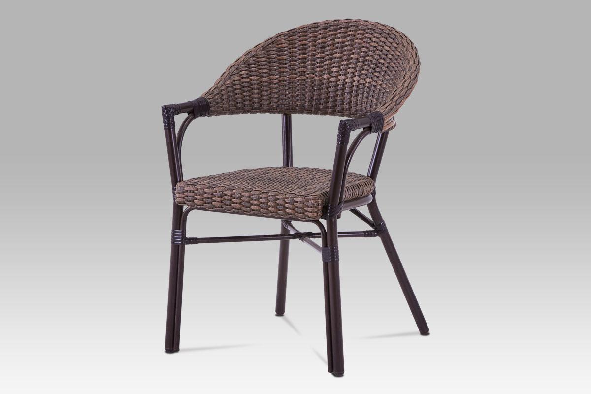 Autronic - Zahradní židle, kov hnědý, umělý ratan hnědý - AZC-120 BR
