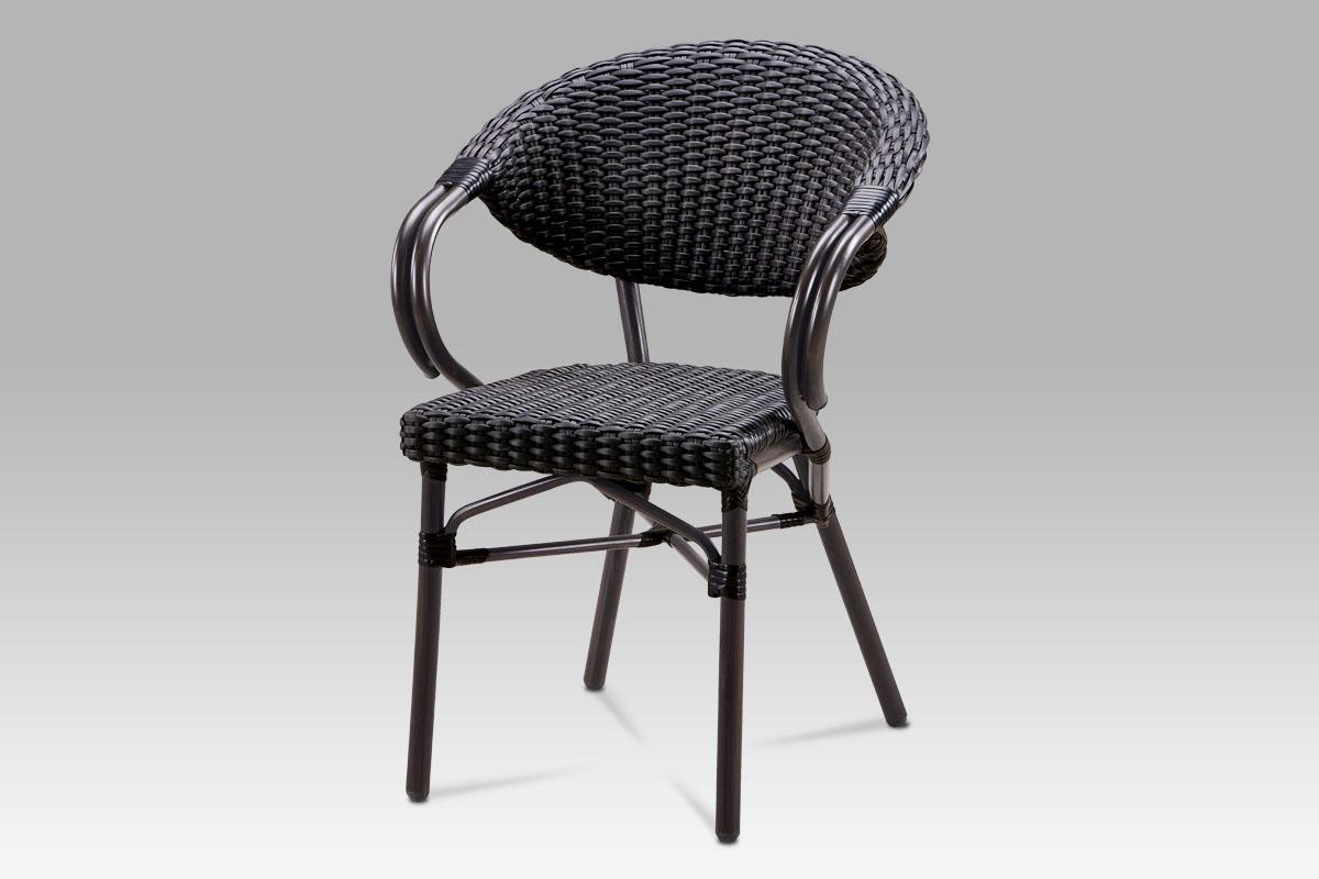 Autronic - Zahradní židle, kov hnědý, umělý ratan černý - AZC-130 BK