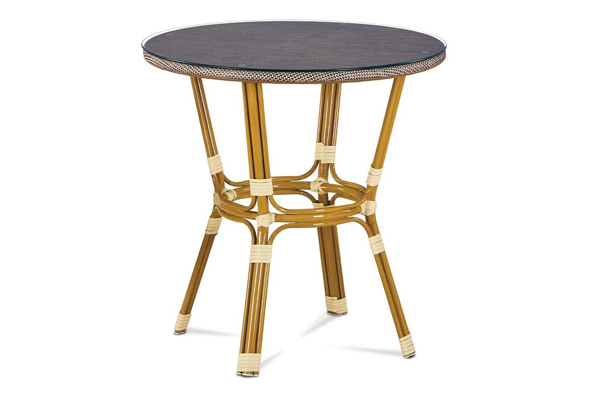 Autronic - Zahradní stůl, sklo, cappuccino plastový výplet, kov, zlatohnědý lak - AZT-101 CAP