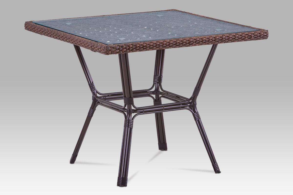 Autronic - Zahradní stůl, kov hnědý, umělý ratan hnědý - AZT-121 BR